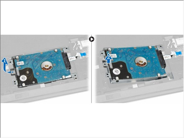 Lift the hard drive to remove it from the computer [1,2].