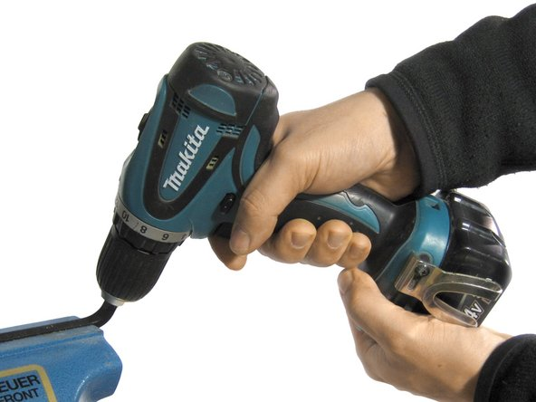 For cordless drills and low speed/high torque corded models, an alternative to the No Wrench Method is to grip the hex key in a vise, put the drill in reverse, hold it tightly with both hands and squeeze the trigger.
