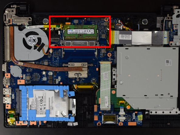 This is where the RAM is located that you will be replacing.