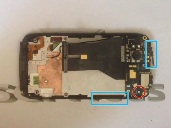 In case to remove the upper board, unscrew the screw and release the power button flex cable and the volume up/down flex cable.