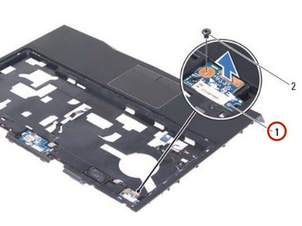 Carefully lift the status-light board and release its cable from the slot on the palm-rest assembly.