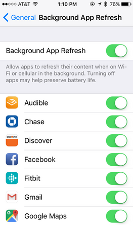 Background App Refresh affects battery usage