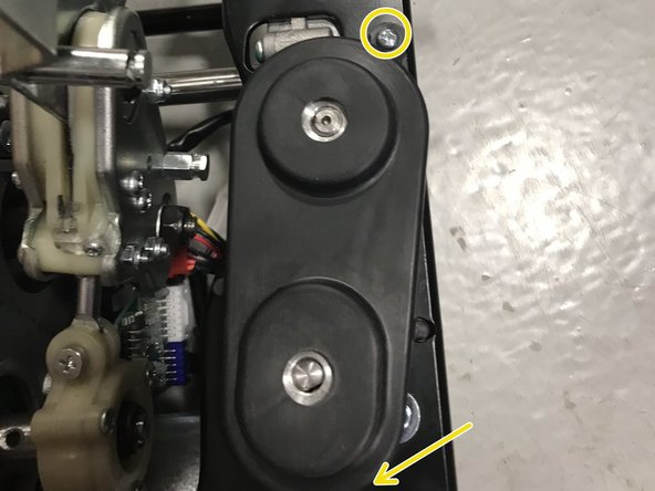 To fix the angle simply remove this cover by removing the 2 screws and spin the motor belt until angle is correct.