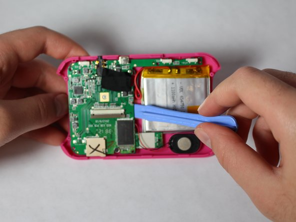 Remove the motherboard, speaker, and battery as a whole, which leaves just the back casing of the device.