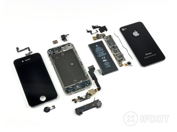 Image 1/2: The iPhone 4 is held together primarily with [lots of] screws, sans tabs, and limited adhesive.