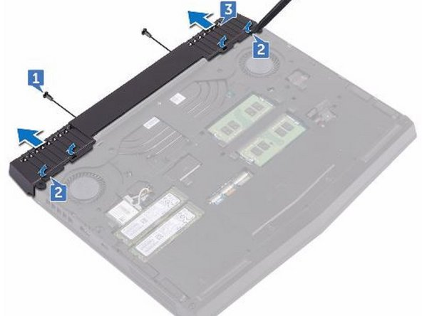 Remove the two screws (M2.5x6L) that secure the rear-I/O cover to the palm-rest assembly.