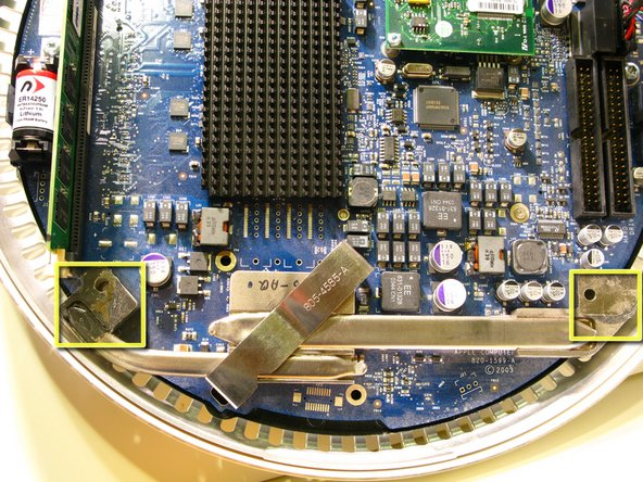 Image 2/2: Important information for reassembling your iMac. You must clean and apply thermal paste to the mating surfaces of the CPU Heat Pipe and The Upper Housing, indicated by the yellow squares in the 2 photographs. Follow iFixit's excellent Thermal Paste Guide [guide|744].