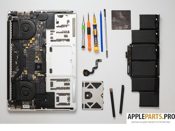 "Battery and Trackpad. Disassembling MacBook Pro 15"" Retina 2012-2015"