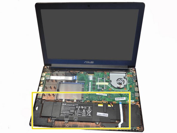 Next, locate the battery in the front of laptop (closest to you).