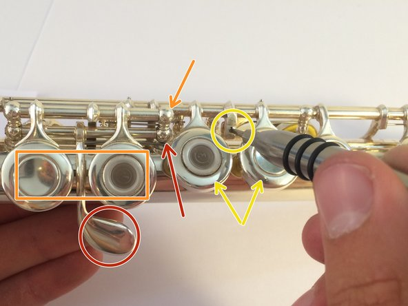 When putting your flute back together, some keys may seem either too easy or to hard to press. This is related to the tightness of the screws in the rails, as well as small screws between finger keys that have not yet been mentioned.
