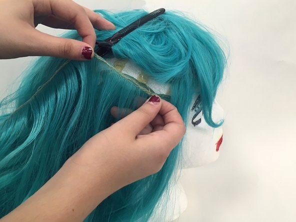 Line up wefts where you want to fill the damaged spot.
