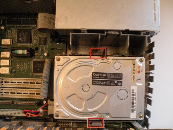 The Macintosh IIsi's hard drive is located ajacent to the ram and floppy drive.