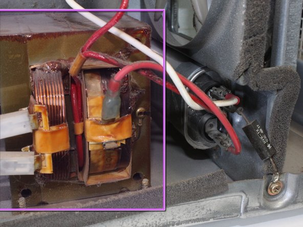 Locate the transformer. The capacitor cannot be removed without removing the transformer first.