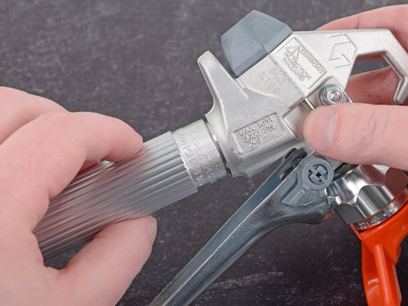 Before you begin, make sure to follow the pressure relief procedure documented in the user manual before disconnecting and disassembling the spray gun.
