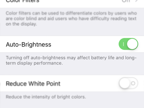 Auto-brightness switch in iPhone settings
