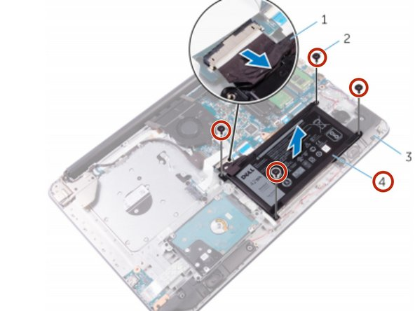 Align the screw holes on the battery with the screw holes on the palm rest and keyboard assembly