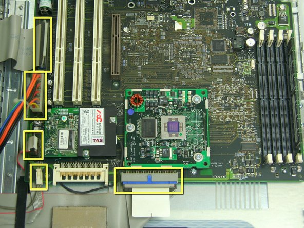 Remove the six indicated cables attached to the logic board.