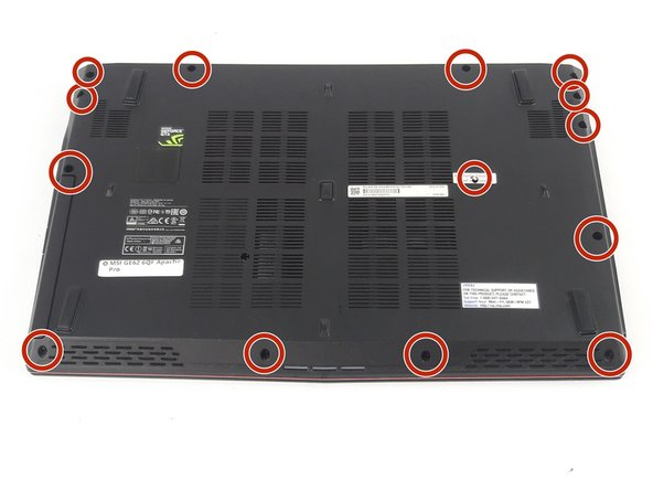 Remove the rest of the PH#0 5mm screws on the back of the laptop.