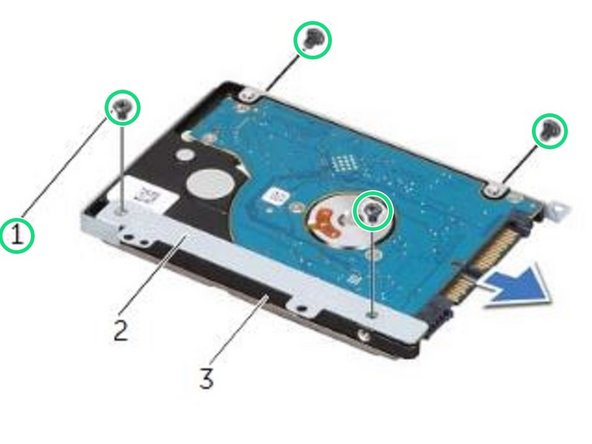 Replace the screws that secure the hard-drive bracket to the NEW hard drive.