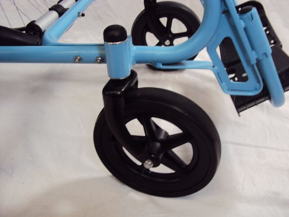 Typically, this will be one of the rear wheels, castor wheels, or brakes.