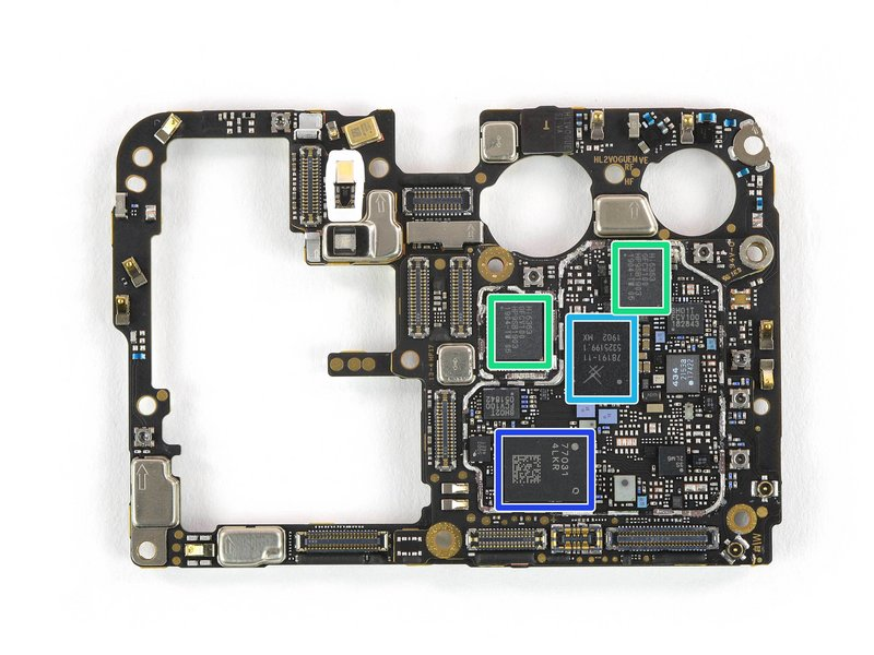 Image of motherboard of Huawei P30 Pro, with relevant US-based chips highlighted.