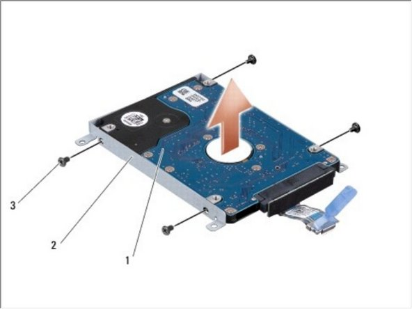 Remove the four screws that secure the hard drive bracket to the hard drive and remove the bracket.