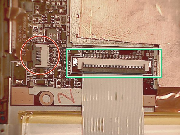Disconnect the LCD ribbon cable from the top and bottom of the battery. It is unnecessary to peel it off of the battery.