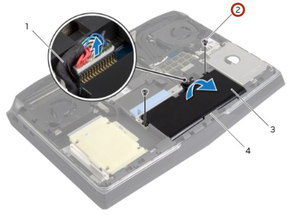 Remove the screws that secure the battery to the computer base.
