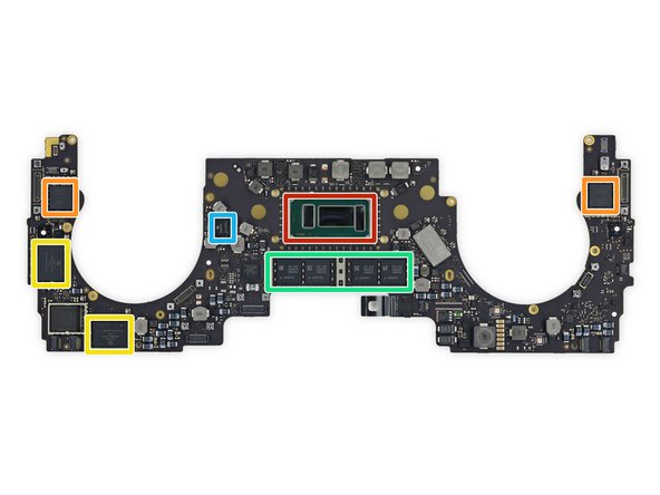 We now look at the moustache logic board to see what chips make this MacBook a Pro: