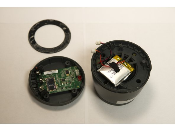 Image 3/3: The battery is connected to board in the red socket and the speaker is connected in the white socket.