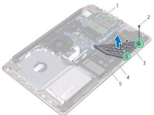 Align the screw holes on the battery bracket with the screw holes on the system board and palm rest and keyboard assembly.