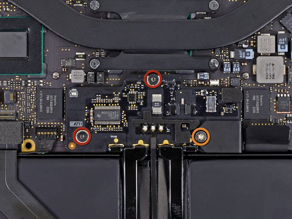 Remove the following screws securing the battery connector board to the logic board: