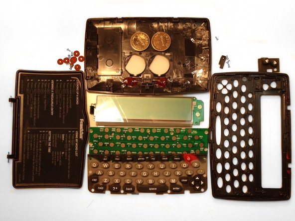 Here is a full view of the disassembled Franklin MWD-460A Electronic Dictionary.