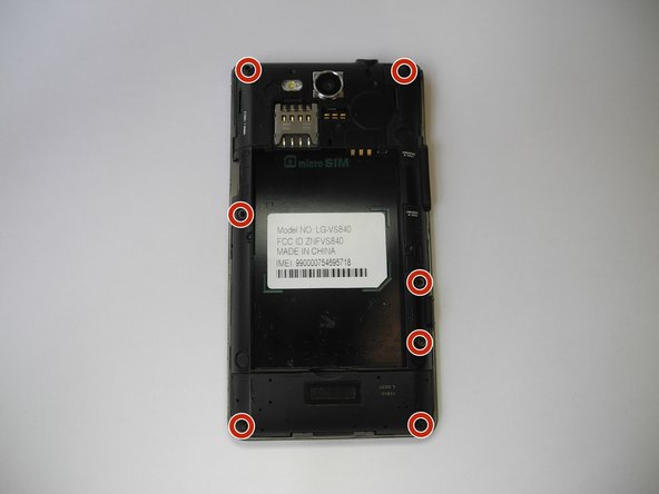 Remove the 7 ph000 screws found on the back of the phone.