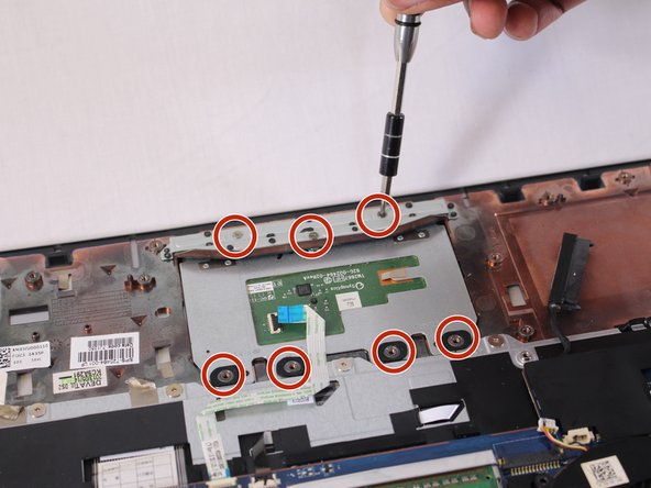 Remove the seven 3mm Phillips #00 screws from the trackpad.
