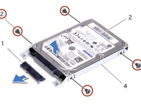 Remove the screws that secure the hard drive to the hard-drive bracket.