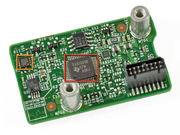 Image 1/2: A Kionix MEMS [link|http://www.kionix.com/accelerometers/accelerometer-KXSD9.html|KXSD9 accelerometer] is [http://www.kionix.com/Product%20Sheets/KXSD9%20Product%20Brief.pdf|probably] used for inclination and tilt sensing, and possibly image stabilization. The Kinect also uses this to know if the sensor has been moved externally
