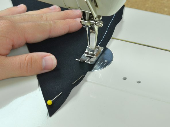 Continue to sew along the curved edge.