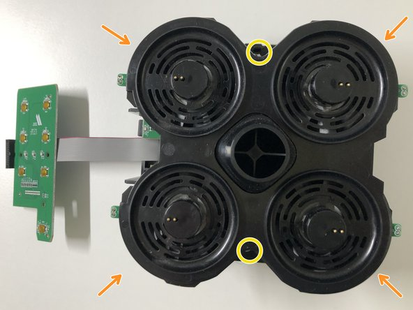 The fan and air guidance assembly is attached to the main PCB with 2 screws.