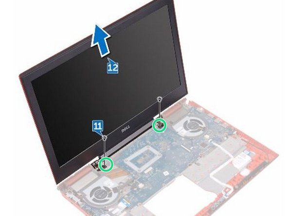Align the screw holes on the NEW display assembly with the screw holes on the computer base.