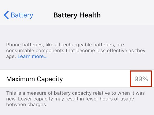 Maximum Capacity displays the total charge capacity of the battery compared to when the device was brand new.