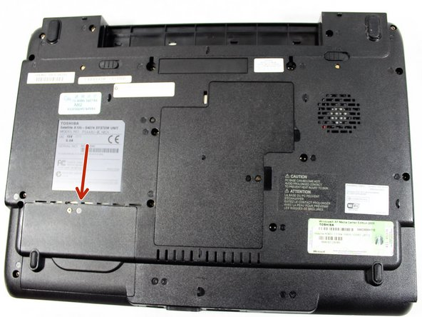 Turn the laptop around so that the battery slot is facing away from you,  and locate the hard drive access panel in the lower left-hand corner.