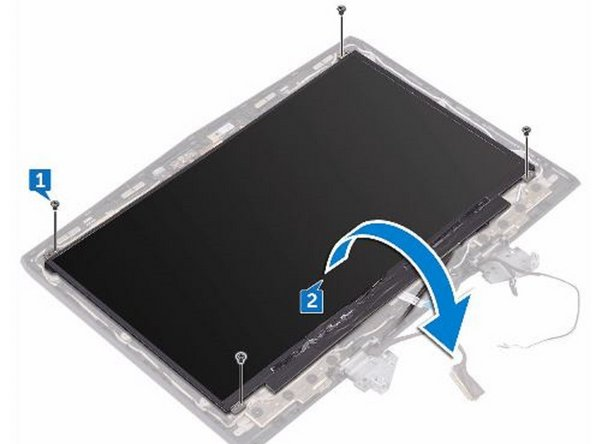 Replace the four screws (M1.6x2) that secure the display panel to the display back-cover and antenna assembly.
