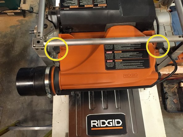 Image 3/3: '''WARNING: Removing the dust collector hood exposes the current cutter blades.'''