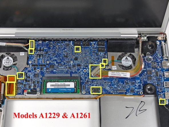 Image 3/3: The connectors have different positions for the four MacBook Pro revisions covered by this guide, and their locations are highlighted in the three pictures on this step.