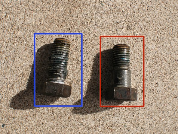 An important note - if you are removing and replacing the front and rear calipers at the same time be sure to keep the front and rear bolts separate.