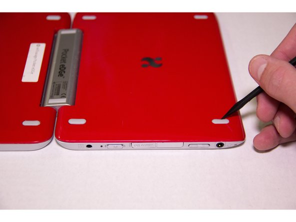 Open the Pocket Edge and place device with the screens face down. The side containing the stylus should be on the left.
