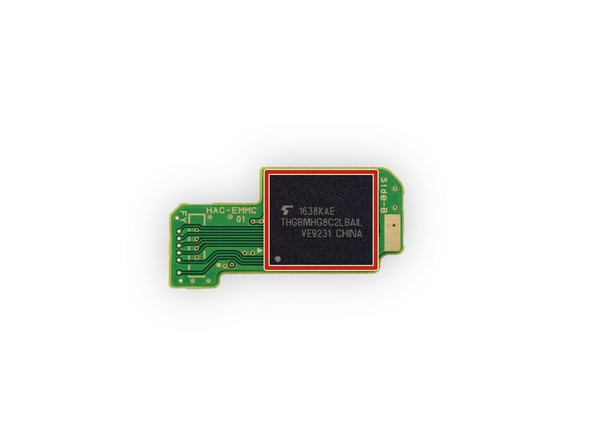 Image 3/3: The storage board contains a single Toshiba [https://toshiba.semicon-storage.com/ap-en/product/memory/nand-flash/mlc-nand/emmc.html|THGBMHG8C2LBAIL|new_window=true] 32 GB eMMC NAND Flash IC.