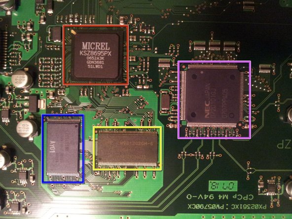 "Image 1/1: The Micrel ""Centaur"" KSZ8695PX in the upper-left is an ARM-based system-on-chip.  Specifically, it features a single 166MHz 32-bit ARM9 core, support for up to 64MB of combined RAM and ROM, and built-in ethernet and PCI interfaces."