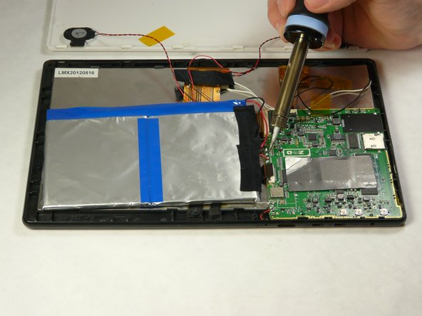 Use a soldering iron to carefully remove wires from motherboard. Then remove battery.